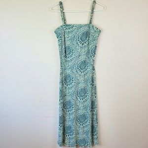 FREE PEOPLE Teal Floral Midi Dress S